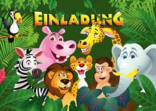 Zoo-Einladungskarten für Kindergeburtstag o. Geburtstag mit Tieren im Dschungel