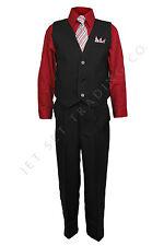 Niños Camiseta Pantalones Set rojo y negro con el Camisa & Corbata a Juego