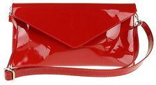 Genuine Leather Italian Patent Envelope Clutch Bag Wrist Shoulder Strap Plain