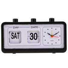 Retro Table Clock Flip Date/ Day Display Timepiece Flip Page Turning Clocks