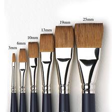Winsor & Newton Artists Pure Sable Flat Single Brushes. Watercolour Paint Brush.