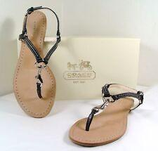 Coach Rue Dog Leash Black Leather Flat Sandals 5-11