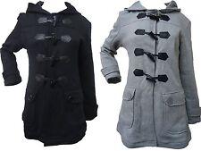 Mesdames manteau à Capuche Duffle Mesdames long hiver veste en noir & gris 8-14 Neuf