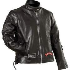 Ladies Womens Leather Motorcycle Biker Jacket, Harley Card, Lady Biker Pin