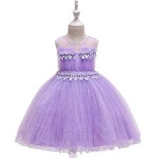 Children's Girls Ruffled Pageant Party Princess Rose Flower Dress Ball Gown Zg9