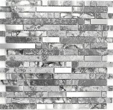 Mosaikstäbchen Glasmosaik Naturstein Stahl Fliesenspiegel Küchen Wand87-MV778