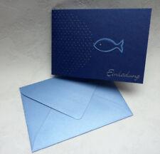 Einladung zur Kommunion/Konfirmation - Fisch mit Silberprägung auch mit Text