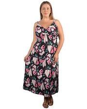 Womens Plus Size 1X,2X,3X Black & Pink Floral Print Empire Waist Dress!