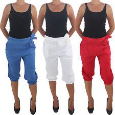 Damen Capri Sommerhose Stoffhose Shorts Bermuda Sport 3/4 Kurze Aladin Pump Hose