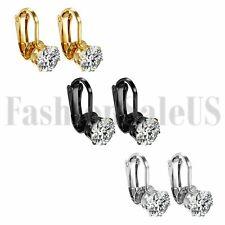Women Ladies Stainless Steel White Cubic Zirconia Clip On Ear Clip Stud Earrings