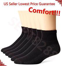 New 12 Pairs Ankle/Quarter Crew Mens Socks Cotton low cut 9-11 10-13  LOT BLACK