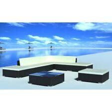 vidaXL Loungeset Poly Rattan Zwart 20-delig Tuin Buiten Meubel Set Tafel stoel