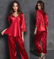 f3c0a30ffa Womens soft Silk Satin Pyjamas Set Loungewear Sleepwear Nightgown Plus Size  sexy