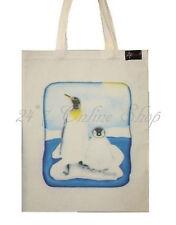 Lindo Penguin Estampado 100% Algodón Orgánico Tote Bag Bolso Natural Asa