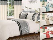 Luxury Foil Panel Duvet Cover Bedding Set with Pillow Case & Curtains 4 Colours