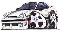 Dodge Neon White Cartoon T-shirt acr plymouth expresso sxt se es r/t Sizes S-3XL