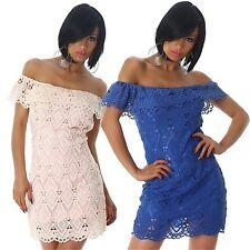 Vestito donna miniabito abito rosa blu pizzo uncinetto svasato tubino nuovo