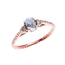 Rose Gold Solitaire Aquamarine & White Topaz Engagement Promise Rope Ring