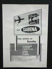 8/1968 PUB COMPAGNIE AERIENNE SABENA BELGIAN WORLD AIRWAYS CARGO FRENCH AD