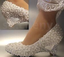 su.cheny Ivory white lace Daisy wedge heart-shaped pearls Wedding Bridal shoes