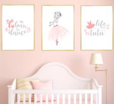 Ballerina Nursery Wall Art Print Set Kids Baby Girl Room Decor Poster Pictures