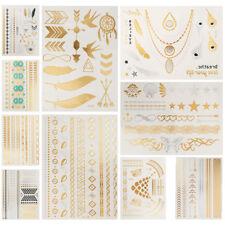 Temporary Tattoo Flash Gold Silver Black Tattoos Body Art Jewelry Metallic UK