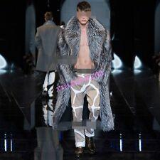 Mens Faux Fur Sliver Parka Coat Peacoat Warm Full Length Windbreak Jackets Vogue