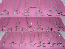 Inicial Collar Carta nombre Colgante Plateado Y Cristal Con Cadena Larga Nueva