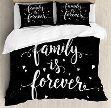 Black and White Duvet Cover Set with Pillow Shams Family Forever Print