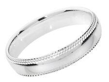 925 Sterling Silver 4mm Milgrain Court Comfort Ladies Wedding Band/Ring
