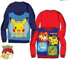 New boys licensed Pokemon fleece sweatshirt blue red 4-12 years bnwt