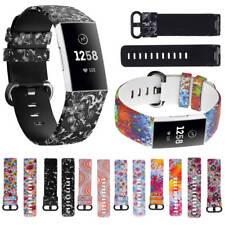 Ersatz-Silikon-Uhrenarmband Flower Floral Sport Strap für Fitbit Charge 3