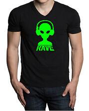 Men's Rave Alien DJ V-Neck Black T Shirt Tee Music Dance Party Spring Break V412