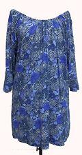 Blue & Violet Floral Print Gypsy Top Plus Sizes 22-32