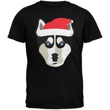 Husky Santa Christmas Youth Black T-Shirt