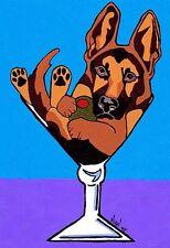 13x19 GERMAN SHEPHERD MARTINI Signed Dog Art PRINT of Original Painting by VERN