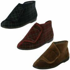 Mens Balmoral Hook and Loop Textile Casual Slipper Boots - 'Thomas'