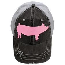 Piggy Trucker Baseball Cap Hat Sparkly Pink/GlitterySilver/Leopard/Camo Show Pig