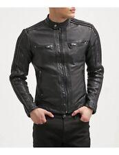 Men's Genuine Lambskin Leather Motorcycle Rider Jacket Slim fit Biker Jacket
