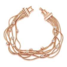 24K ROSE WHITE GOLD GF LADY BRIDAL multi Chain BANGLE BRACELET SIMULATED DIAMOND