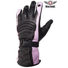 Women's  Full Finger Leather Gloves - Pink, Blue, Red, White,  motorcycle biker
