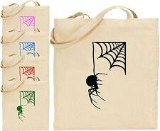 SPIDER pendere da Web Halloween Grandi Cotone Tote Bag spaventosa TRUCCO trattare Creepy