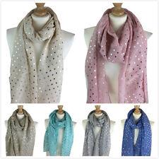New Women's Scarves Ladies glitter Scarf  Metallic foil Heart Print Evening Wrap