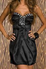 SeXy Miss Damen Diamant Steine Satin Mini Kleid Girly Trend Dress XS/S schwarz
