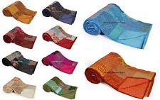 Indian Handmade Patchwork Kantha Quilt King Size Silk Blanket Bedspread Bedding