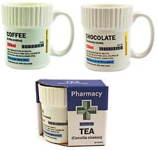 Pill Pot Shaped Tea Coffee Chocolate Ceramic Mug Funny Prescription Pharmacy Tag