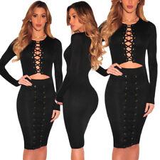 Vestito da sera donna nero sexy abito elegante cerimonia manica lunga DS61382