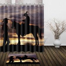 Western Cowboy Shower Curtain Waterproof Fabric Bathroom Curtains Hooks Mat Rug