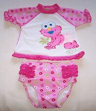 Sesame Street Elmo Girls White Pink Rash Vest & Brief Set Size 2 New