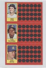 1981 Topps Baseball Scratch-Off #40-23-5 Fred Lynn Tom Paciorek Dan Meyer Card